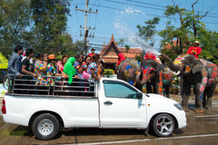 Songkran Festival in Ayuttaya. AYUTTHAYA, THAILAND - APR 14:  Revelers enjoy water splashing with elephants during Songkran Festival on Apr 14, 2015 in Ayutthaya Stock Photo