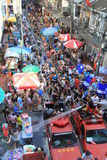 Songkran festival in Bangkok,Thailand. BANGKOK - APRIL 13: Crowd of people celebrating the traditional Songkran New Year Festival, April 13, 2012, Silom road royalty free stock photo