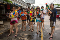 The Songkran festival in Bangkok, Thailand. Bangkok, Thailand - April 13, 2014 : The Songkran festival or Thai New Year`s festival in JJ market in Bangkok royalty free stock images