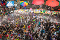 The Songkran festival in Bangkok, Thailand. Bangkok, Thailand - April 13, 2014 : The Songkran festival or Thai New Year`s festival on Silom street in Bangkok Royalty Free Stock Photos