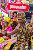 Songkran Festival in Bangkok. BANGKOK, THAILAND - APRIL 14: Songkran Festival in Bangkok, Thailand on April14, 2015. Participants in a Songkran Festival parade stock photography