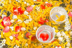 Songkran festival. Bowl of water and flowers for Songkran festival in Thailand Stock Photo