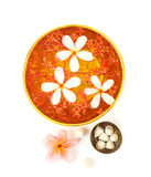Songkran festival - Bowl of water with flowers. On white background stock photo