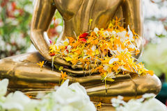 Songkran festival. Buddha image decorated by flowers in songkran festival in the temple of thailand Stock Image
