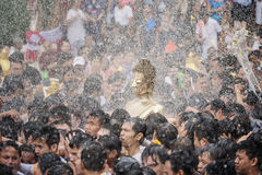 Songkran festival. Buddha statue water ceremony in songkran festival 2017,NONG KHAI THAILAND APRIL 13 , 2017 , Songkran Festival, Many people have raised the Stock Images