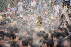 Songkran festival. Buddha statue water ceremony in songkran festival 2017,THAILAND APRIL 13 , 2017, Many people have raised the buddha statues Luang Phor Phra Royalty Free Stock Images