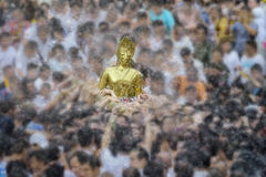 Songkran festival. Buddha statue water ceremony in songkran festival 2017,THAILAND APRIL 13 , 2017, Many people have raised the buddha statues Luang Phor Phra Royalty Free Stock Image