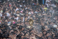 Songkran festival. Buddha statue water ceremony in songkran festival 2017,THAILAND APRIL 13 , 2017, Many people have raised the buddha statues Luang Phor Phra Royalty Free Stock Photography