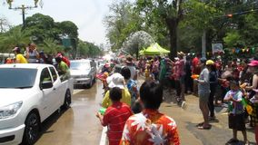 Songkran Festival is celebrated with elephants in Ayutthaya stock video