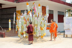 Songkran Festival is celebrated in a traditional New Year's Day, Monks comes to decorate tung i Royalty Free Stock Image