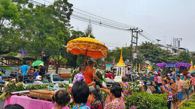 Songkran festival celebration. First day of watering  festival Thailand new year. Water festival to celebrate the Thai New Year.  People wear colourful cloth stock images