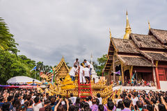 Songkran festival. CHIANG MAI, THAILAND - APRIL 13: Buddha Phra Singh of Phra Singh temple was moved to the parade cars for pour water in Songkran festival on Royalty Free Stock Images