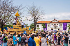 Songkran festival. CHIANG MAI, THAILAND - APRIL 13: Buddha Phra Singh of Phra Singh temple was moved to the parade cars for pour water in Songkran festival on Royalty Free Stock Photo