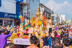 Songkran festival. CHIANG MAI, THAILAND-APRIL 13:Chiang mai Songkran festival.The tradition of bathing the Buddha marched on an annual basis. With respect to Royalty Free Stock Image