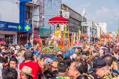 Songkran festival. CHIANG MAI, THAILAND-APRIL 13:Chiang mai Songkran festival.The tradition of bathing the Buddha marched on an annual basis. With respect to Stock Images