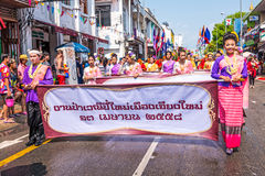 Songkran festival. CHIANG MAI, THAILAND-APRIL 13:Chiang mai Songkran festival.The tradition of bathing the Buddha marched on an annual basis. With respect to Royalty Free Stock Photo