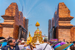 Songkran festival. CHIANG MAI, THAILAND-APRIL 13:Chiang mai Songkran festival.The tradition of bathing the Buddha Phra Singh marched on an annual basis. With Stock Photos
