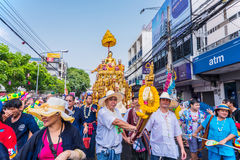 Songkran festival. CHIANG MAI, THAILAND-APRIL 13:Chiang mai Songkran festival.The tradition of bathing the Buddha Phra Singh marched on an annual basis. With Royalty Free Stock Photography