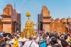 Songkran festival. CHIANG MAI, THAILAND-APRIL 13:Chiang mai Songkran festival.The tradition of bathing the Buddha Phra Singh marched on an annual basis. With Stock Images