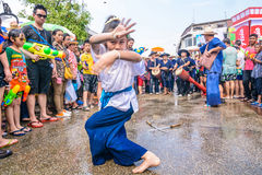Songkran festival. CHIANG MAI THAILAND-APRIL 13:Chiangmai Songkran festival.Unidentified Thai woman dancer in parade annual Chiang Mai Songkran festival at Tha stock photos