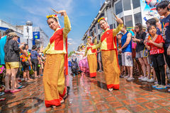 Songkran festival. CHIANG MAI THAILAND-APRIL 13:Chiangmai Songkran festival.Unidentified Thai woman dancer in parade annual Chiang Mai Songkran festival at Tha Royalty Free Stock Image
