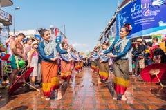 Songkran festival. CHIANG MAI, THAILAND-APRIL 13:Chiangmai Songkran festival. Unidentified Thai woman dancer in parade annual Chiang Mai Songkran festival at Royalty Free Stock Photos
