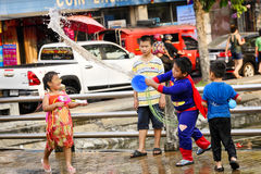Songkran festival Chiang Mai Thailand. CHIANG MAI THAILAND - APRIL 12, 2017 : Chiang Mai Songkran Festival. Unidentified boys and girl traveler like to join the royalty free stock photos