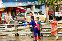 Songkran festival Chiang Mai Thailand. CHIANG MAI THAILAND - APRIL 12, 2017 : Chiang Mai Songkran Festival. Unidentified boys and girl traveler like to join the Stock Photos