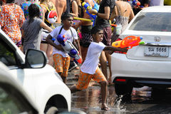 Songkran festival Chiang Mai Thailand. CHIANG MAI THAILAND - APRIL 12, 2017 : Chiang Mai Songkran Festival. Unidentified boys traveler like to join the fun with Stock Photography