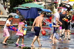 Songkran festival Chiang Mai Thailand. CHIANG MAI THAILAND - APRIL 12, 2017 : Chiang Mai Songkran Festival. Unidentified men and girl traveler like to join the Royalty Free Stock Image