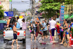 Songkran festival Chiang Mai Thailand. CHIANG MAI THAILAND - APRIL 12, 2017 : Chiang Mai Songkran Festival. Unidentified men and women traveler like to join the Stock Image
