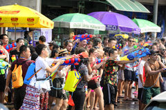 Songkran festival Chiang Mai Thailand. CHIANG MAI THAILAND - APRIL 12, 2017 : Chiang Mai Songkran Festival. Unidentified men and women traveler like to join the Royalty Free Stock Image
