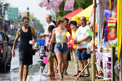 Songkran festival Chiang Mai Thailand. CHIANG MAI THAILAND - APRIL 12, 2017 : Chiang Mai Songkran Festival. Unidentified men and women traveler like to join the Royalty Free Stock Photography