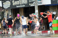 Songkran festival Chiang Mai Thailand. CHIANG MAI THAILAND - APRIL 12, 2017 : Chiang Mai Songkran Festival. Unidentified men and women traveler like to join the Stock Photos
