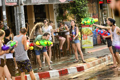 Songkran festival Chiang Mai Thailand. CHIANG MAI THAILAND - APRIL 12, 2017 : Chiang Mai Songkran Festival. Unidentified men and women traveler like to join the Royalty Free Stock Photo
