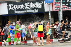 Songkran festival Chiang Mai Thailand. CHIANG MAI THAILAND - APRIL 12, 2017 : Chiang Mai Songkran Festival. Unidentified men and women traveler like to join the Royalty Free Stock Photos