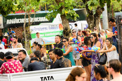 Songkran festival Chiang Mai Thailand. CHIANG MAI THAILAND - APRIL 12, 2017 : Chiang Mai Songkran Festival. Unidentified men and women traveler like to join the Stock Photo