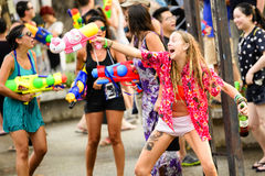 Songkran festival Chiang Mai Thailand. CHIANG MAI THAILAND - APRIL 12, 2017 : Chiang Mai Songkran Festival. Unidentified women traveler like to join the fun Royalty Free Stock Images