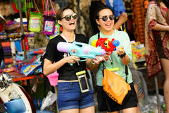 Songkran festival Chiang Mai Thailand. CHIANG MAI THAILAND - APRIL 12, 2017 : Chiang Mai Songkran Festival. Unidentified women traveler like to join the fun Royalty Free Stock Image