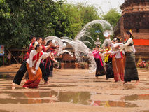 Songkran festival at chiangmai, thailand. Songkran festival, people go to the temple and splash the water to eachother for celebration stock images