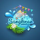 Songkran-Festival des Thailand-Logodesigns vektor abbildung