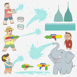 Songkran Festival element. With elephant and happy people and tourist and water gun Stock Image
