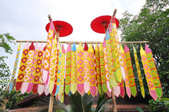 Songkran festival flag. Decoration of Tung (Lanna flag) in the temple, Songkran festival, Chiangmai, Thailand Stock Images
