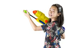 Songkran Festival,Happy Thai New Year. Asian girl happy travelers holding water gun Festival national culture party in Bangkok,Thailand,isolated on white royalty free stock photo