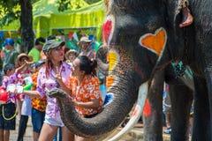 Songkran festival i Ayuttaya Arkivfoto
