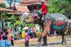 Songkran festival i Ayuttaya Arkivbild