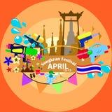 Songkran festival i Thailand Arkivfoto