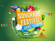 Songkran festival illustration. With aqua ring, flowers and water gun, green background, 3d illustration Royalty Free Stock Photo