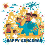 Songkran festival illustration. With kids playing with elephant and water, white background Royalty Free Stock Photo