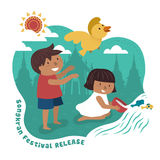 Songkran festival illustration. With kids releasing animals to the wild, temple background Royalty Free Stock Photos